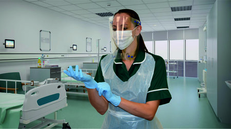 Face Shield shown in use on female head in hospital ward