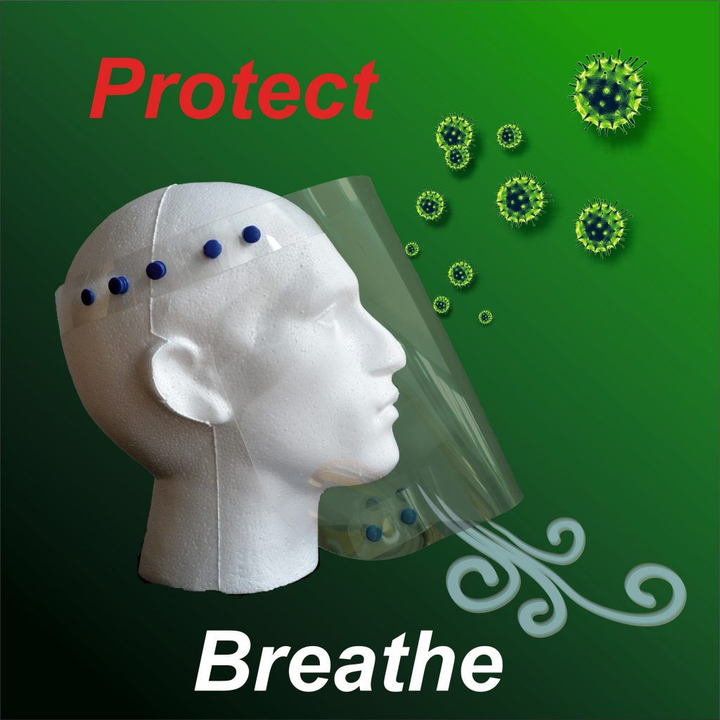 Face Shield illustrating Protection of face from bacteria and exhaled breath
