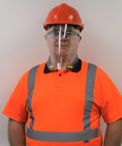 Face Shield worn by construction worker in hard hat
