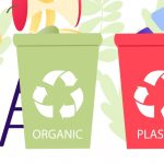 Recycling graphic showing 4 bins separately labelled e-waste, paper, plastic & organic & showing people placing items in them.