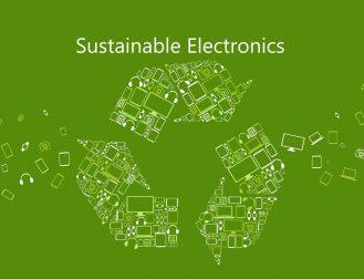 Reycling symbol showing turnkey sustainable flexible electronics
